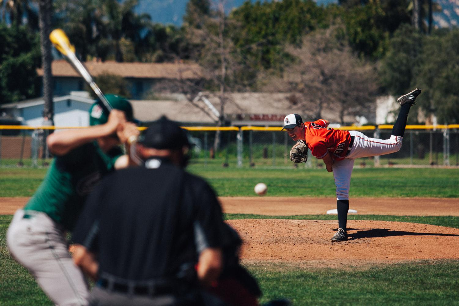 Ian Churchill pitches the ball during a game against Cuesta on Saturday, March 15, 2019, at Pershing Park in Santa Barbara, Calif. The Vaqueros went on to beat Cuesta 3-2.