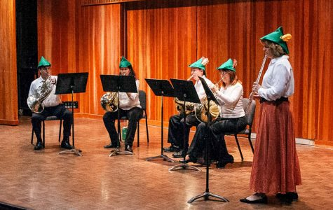 An ensemble of four french hornists and one flutist preform for the Chamber Winds performance on Sunday, March 10, 2019, in the Fe Bland Forum at City College in Santa Barbara, Calif.