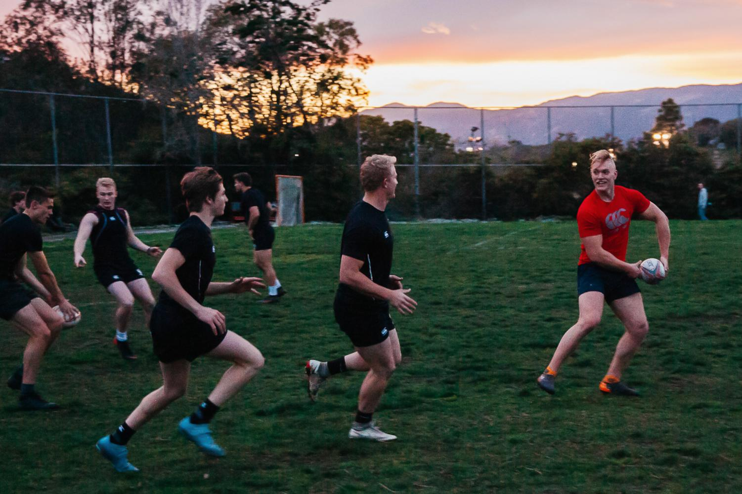 Sebastian Thogersen prepares to pass the ball to teammates during the SBCC men's rugby practice on Monday, March 11, 2019, at Elings Park in Santa Barbara, Calif. The team worked on spacing, passing and communication durning the practice.