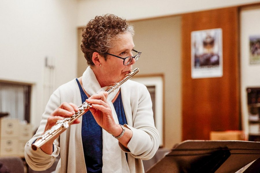 Dr. Linda Holland plays the flute in rehearsal of an upcoming Chamber Music performance on Thursday, Feb. 28, 2019 in the Drama and Music Building at City College in Santa Barbara, Calif. Dr. Holland is the director of the chamber music group.