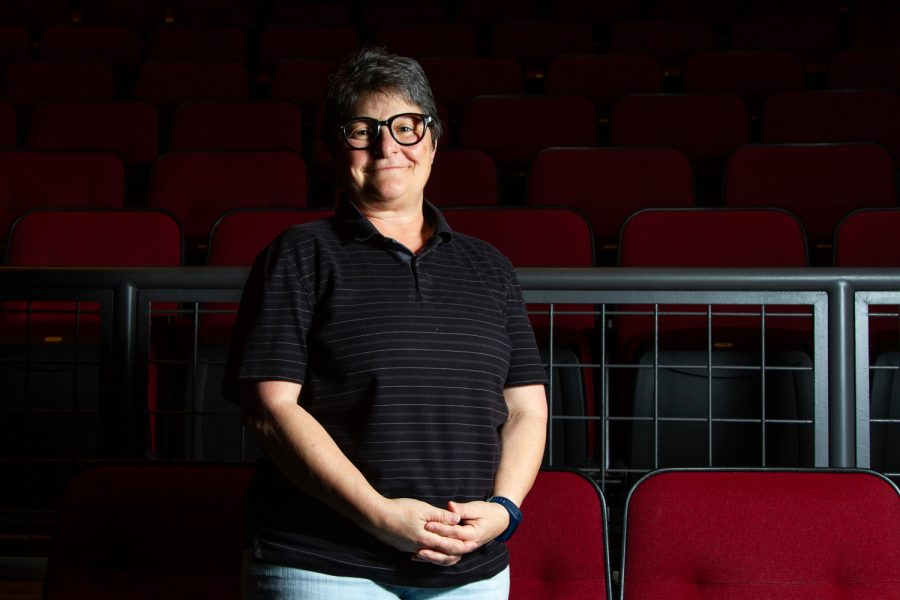 Patricia Frank, associate professor and co-chair of the City College Theatre Department, stands in the Garvin Theatre, a place she spends much of her time in, on Thursday, April 18, 2019, at City College in Santa Barbara, Calif. Frank has knowledge in both the artistic and technical side of design.