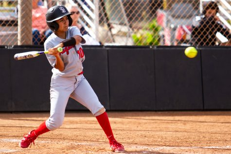 City College outfielder Kayana Diaz (No. 10) hits the ball against Moorpark College on Thursday, April 11, 2019, at Pershing Park in Santa Barbara, Calif. The Vaqueros won the match against the Raiders 11-7.