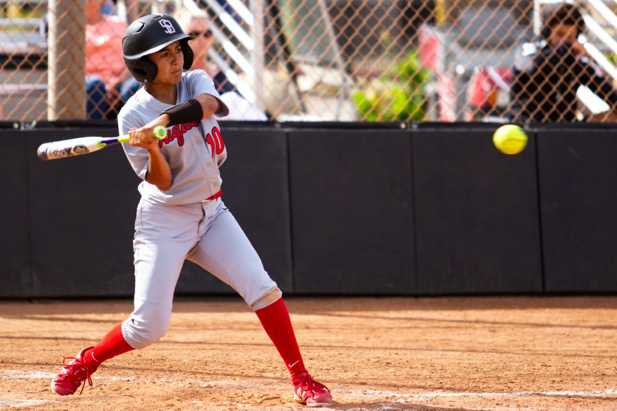 City+College+outfielder+Kayana+Diaz+%28No.+10%29+hits+the+ball+against+Moorpark+College+on+Thursday%2C+April+11%2C+2019%2C+at+Pershing+Park+in+Santa+Barbara%2C+Calif.+The+Vaqueros+won+the+match+against+the+Raiders+11-7.