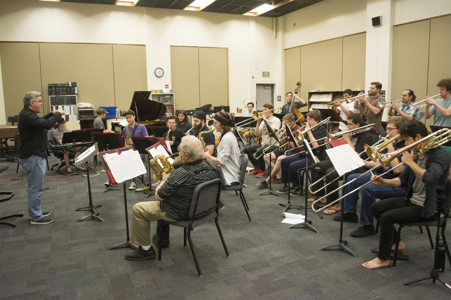 Students of SBCC's Jazz Ensemble practice for their Big Band Blowout Concert happening Monday, April 22, 2019, in the Garvin Theater, on Thursday, April 18, 2019, in the Drama and Music Building Room 105 at City College in Santa Barbara, Calif.