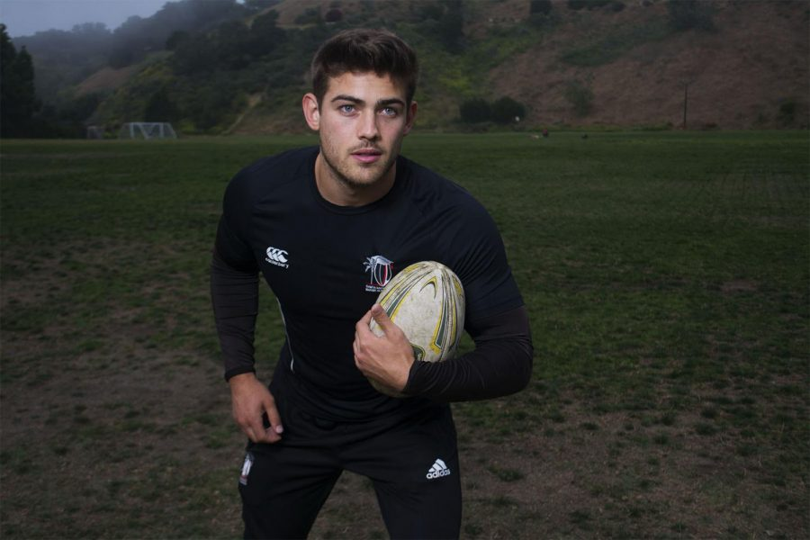 Vaquero's rugby player Chris Noggle posses before practice at 7 p.m. on Thursday, April 24, 2019, at Elings Park in Santa Barbara, Calif.