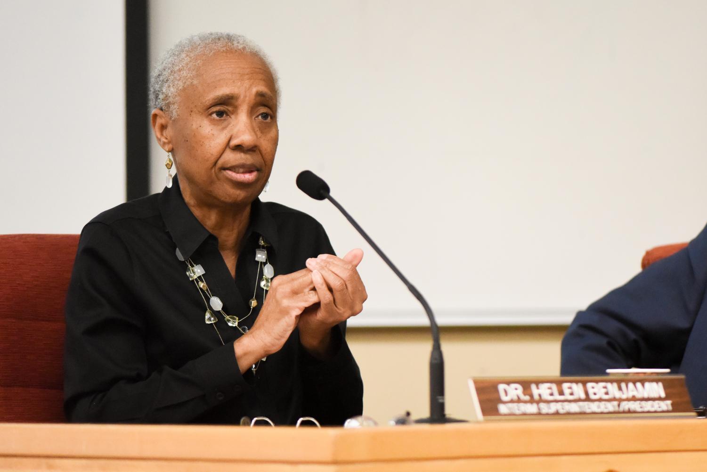 Interim superintendent-president Dr. Helen Benjamin speaks at a Board of Trustees meeting on Thursday, April 11, 2019, at City College in Santa Barbara, Calif.