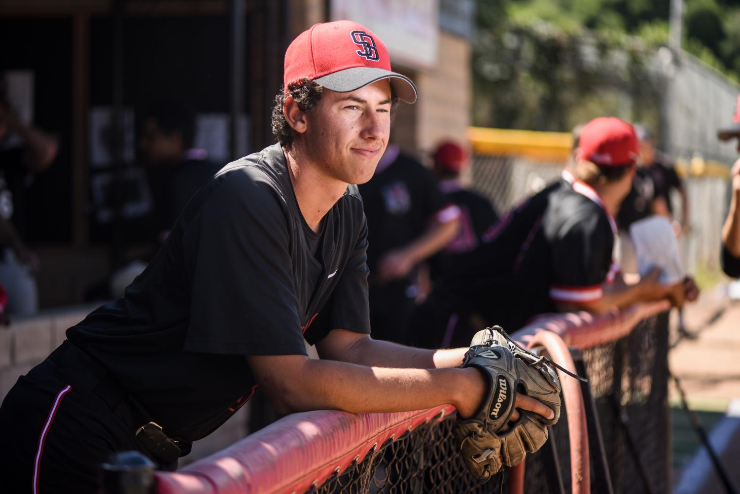 City College pitcher Ian Churchill stands in the Pershing Park baseball field dugout before a game on Tuesday, April 9, 2019, in Santa Barbara, Calif.