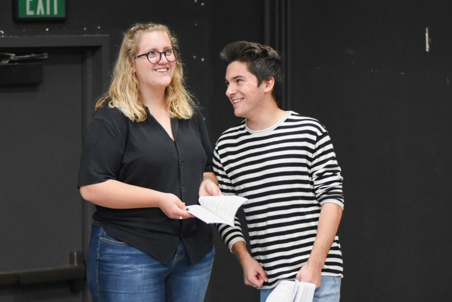 "From left, co-stars Aurora Gooch and Christian Duarte rehearse for the play ""Significant Other"" on Friday, March 8, in the Jurkowitz Theatre at City College in Santa Barbara, Calif."