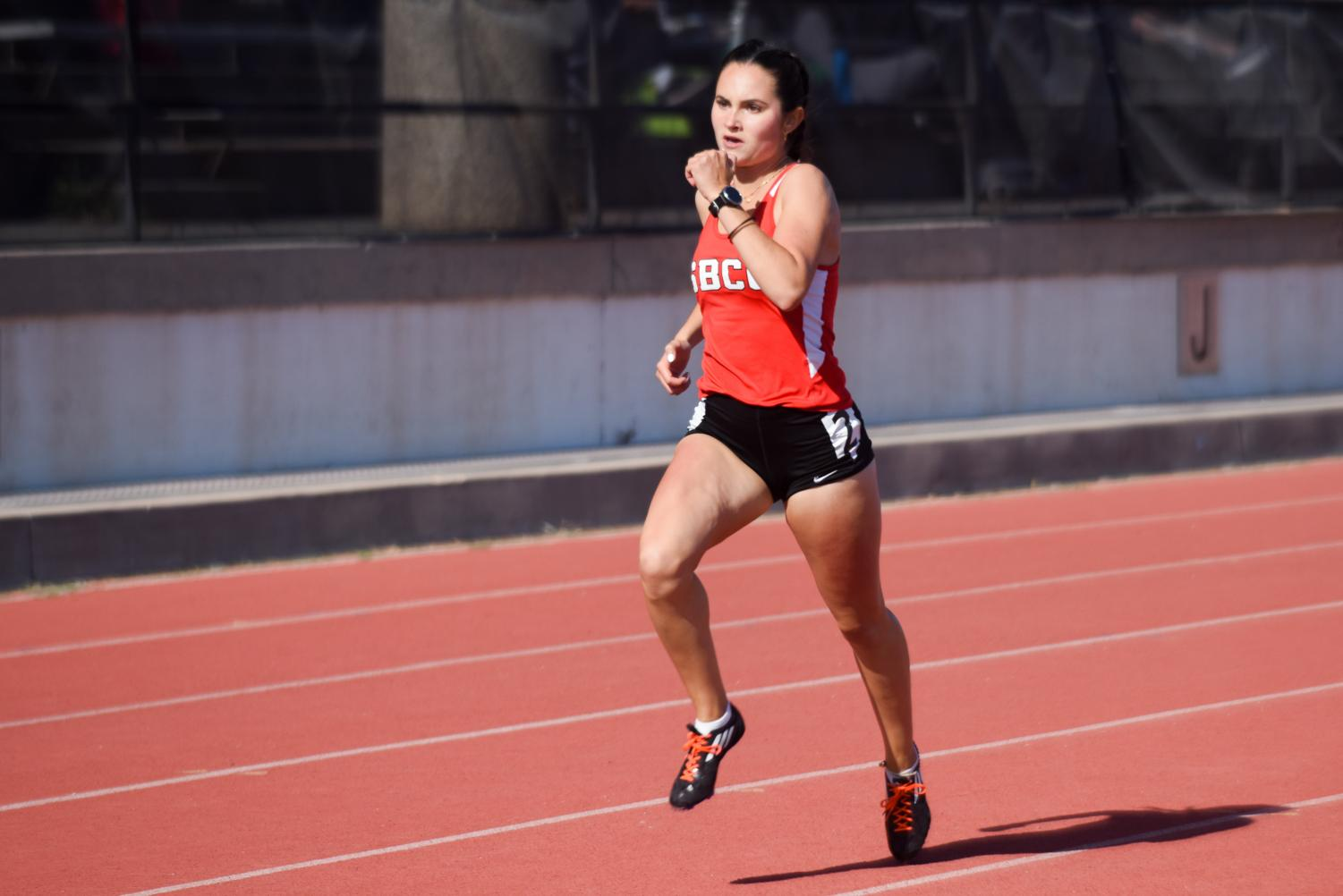 Christy Chavira runs in the 1500 meter race during the Easter Open on Friday, April 12, 2019, at La Playa Stadium at City College in Santa Barbara, Calif. Chavira placed second in this race.