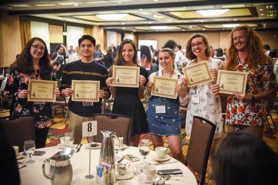 From left, Serena Guentz, Anthony Zapata, Lauren McGee, Jun Starkey, Elizabeth Saubestre and Nate Stephenson show off their awards on Saturday, March 30, 2019, at the DoubleTree Hilotn Hotel in Sacramento, Calif. (Photo by: John Thomas Rose)