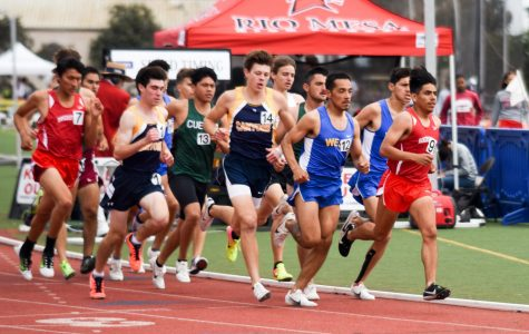 Athletes run in the mens 1500m race at the Western State Conference Preliminaries on Friday, April 19, 2019, at La Playa Stadium at City College, in Santa Barbara, Calif.
