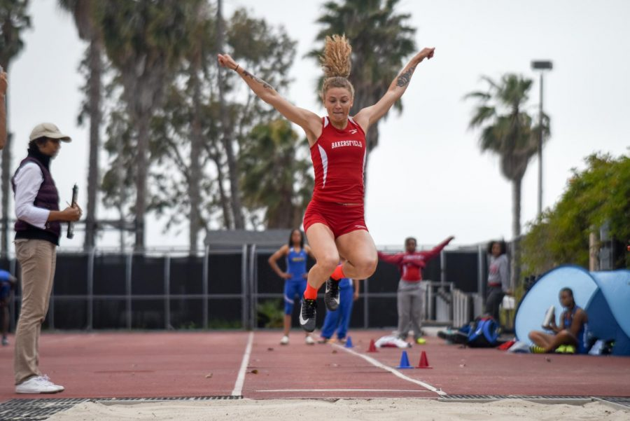 Alyssa Diaz of Bakersfield College, competes in the long jump event at the Western State Conference Preliminaries on Friday, April 19, 2019, at La Playa Stadium at City College, in Santa Barbara, Calif.