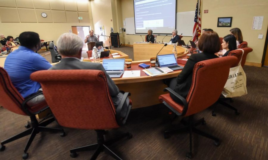 Gregory Koss speaks during the public comment section at a Board of Trustees meeting on Thursday, April 11, 2019, at City College in Santa Barbara, Calif.