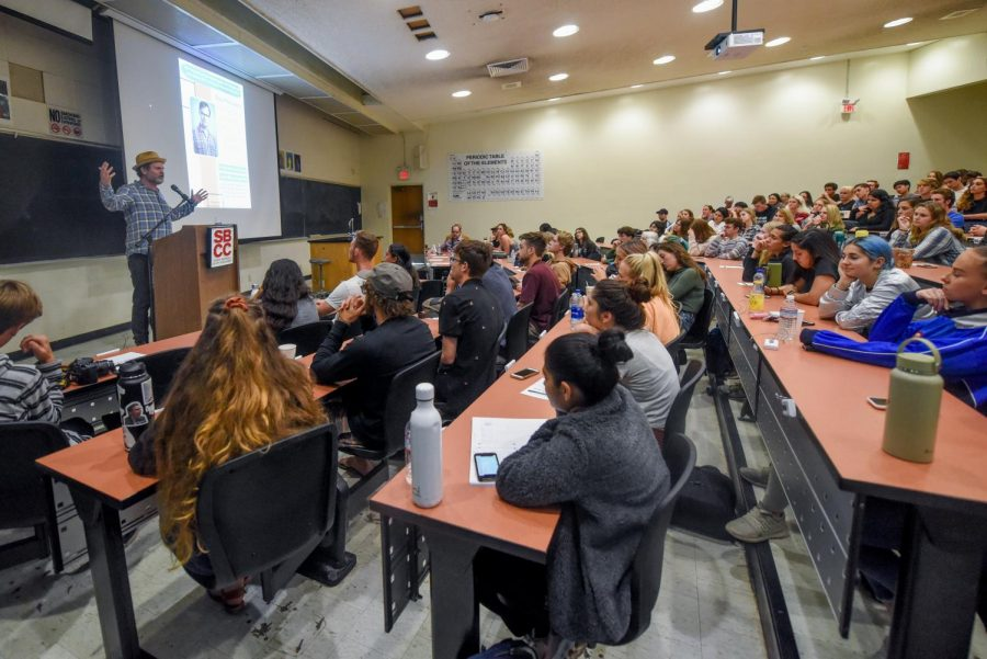 Rainn Wilson filled the 138 seat lecture hall and had a crowd of people waiting outside during his talk on Thursday, April 25, 2019, in the Physical Science Room 101 at City College in Santa Barbara, California.