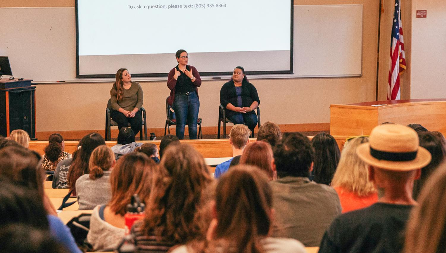 From left, Allie Scudelarl, Glory McGuigan, and Rossio Zavala Perez answer questions about their experiences in California State University's sign language interpreation program. The entire panel discussion was given in American Sign Language on Friday, April 12, 2019, in the MacDougall Administration Building Room 211 at City College in Santa Barbara Calif.