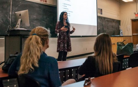 Jessica Kianmahd talks about genetic counseling as a career on Wednesday, April 10, 2019, in PS 101 at City College in Santa Barbara, Calif. Kianmahd talked to students about job opportunities and answered questions about the working in the field.