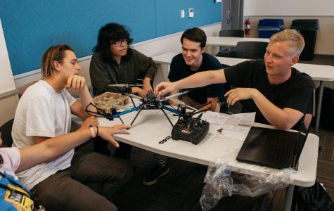 Students from the robotics club assemble a drone during a club meeting on Friday, April 12, 2019, in the West Campus Center Room 304 at City College in Santa Barbara Calif. The club has been assembling this drone for the past four weeks and intends to have it flying properly by Friday, April 19.