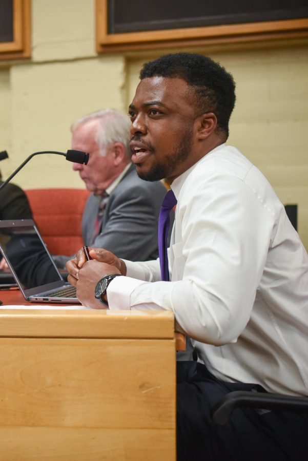 Kenny Igbechi speaks at the Board of Trustees meeting on Thursday night Feb. 28, 2019, at City College in Santa Barbara, Calif.