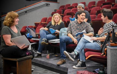 "From left, Director Katie Laris and actors Aurora Gooch, Irving Soto and Christian Duarte, rehearse their lines for the play ""Significant Other"" on Friday, March 8, 2019, in the Jurkowitz Theatre at City College in Santa Barbara, Calif."