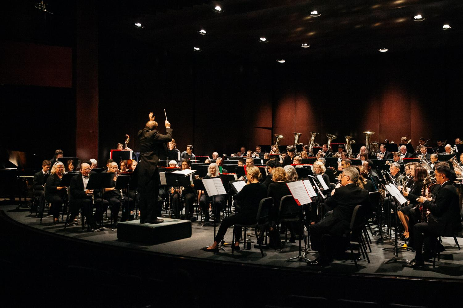 The Santa Barbara City College Concert Band and conductor Eric Heidner play Favorites from 2003-2018 on Sunday, May 5, 2019, at the Garvin Thertre at City College in Santa Barbara, Calif. The band consisted of 99 musicians including Heidner.