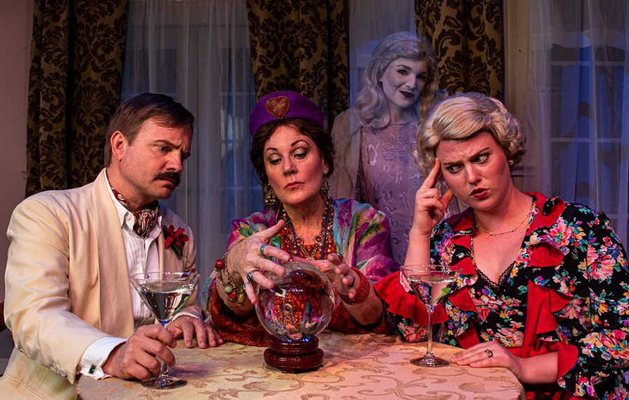 Oren Skoog, Leslie Ann Story, Courtney Schwass and Leesa Beck in The Theatre Group at SBCC's production of BLITHE SPIRIT by Noel Coward, directed by R. Michael Gros. Photo Credit: Ben Crop