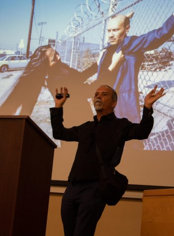 Harry Gamboa Jr. speaks of success during a lecture given to celebrate Hispanic Heritage Month on Wednesday, Sept. 11 2019, in Administration Room 211 at City College in Santa Barbara, Calif.
