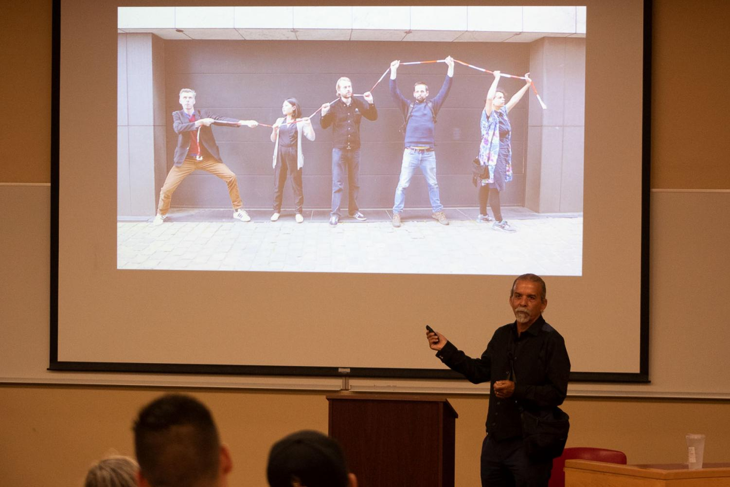 Harry Gamboa Jr. shares stories of achieving his goals during a lecture given to celebrate Hispanic Heritage Month on Wednesday, Sept. 11 2019, in Administration Room 211 at City College in Santa Barbara, Calif. Gamboa Jr., a Chicano essayist, photographer, director and performance artist has presented his work all over the world.