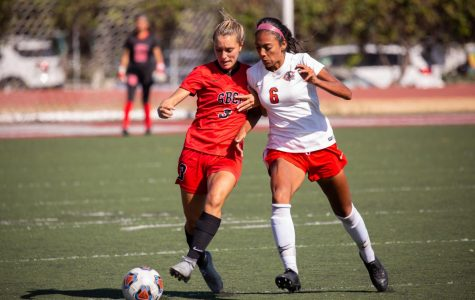 Taylor Valle (No.3) battles her way down field against Mylinda Gomez (No.6) on Tuesday afternoon, Sept. 17, 2019, at La Playa Stadium at City College in Santa Barbara, Calif. The Vaqueros lost to the Chaffey College Panthers 2-1.