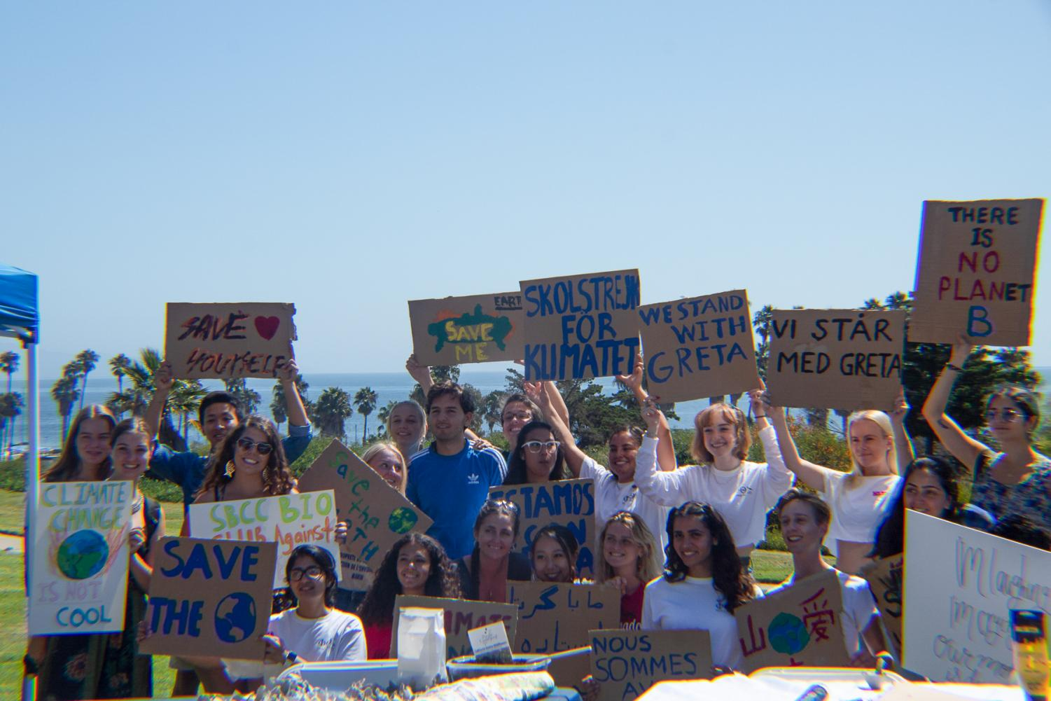Protesters gathered to show their signs towards the end of the strike to spread the word about climate change, on Sept. 20, 2019, on West Campus at City College in Santa Barbara, Calif.