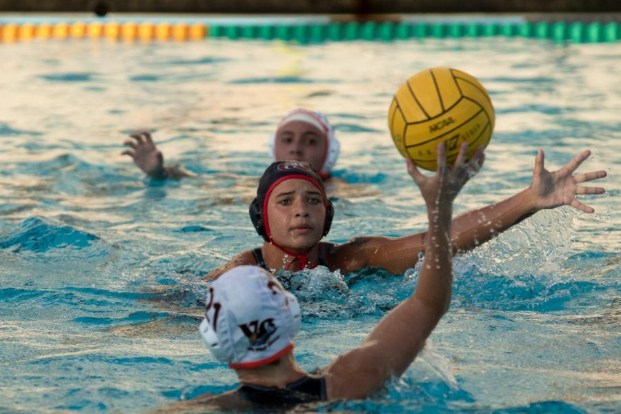 Taylor Brooks charges down Sierra Cameron before she can pass to a teammate on Wednesday, Sept. 25, 2019, at Santa Barbara High School in Santa Barbara, Calif. The Vaqueros came out with a 10-4 win against Ventura College.