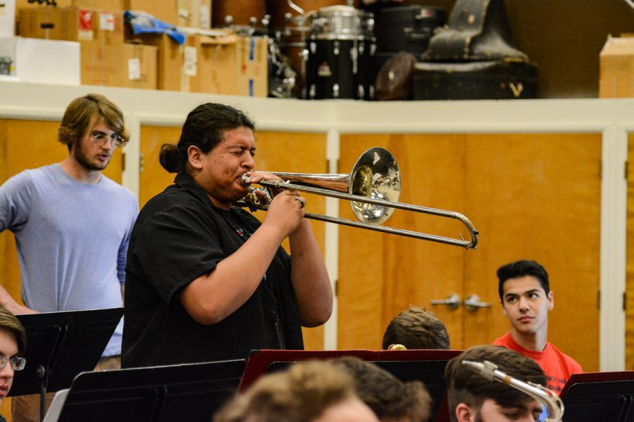 Kevin Roman rehearses his trombone solo for the Lunchbreak Band's upcoming concert. The band rehearsed on Thursday, Sep. 12, 2019 in the Drama and Music Building Room 105 on west campus at City College in Santa Barbara, Calif.