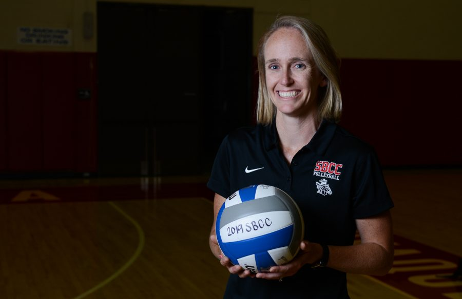 Kat Niksto, the new SBCC Women's Volleyball coach smiles in the Sports Pavilion just after her team took down College of the Canyons in 4 sets on Wednesday, Sept. 11 2019, at City College in Santa Barbara, Calif. This is the first win of the season for the Vaqueros, bringing their record to 1-5.