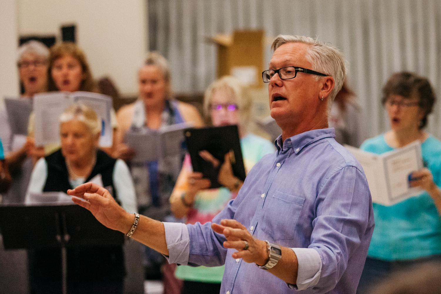 The newly appointed Music Department Chair Nathan Kreitzer directes the City College's Quire of Voyces on Tuesday, Sept. 24, 2019, in the Drama/Music building, Room DM-101 at City College in Santa Barbara, Calif. Kreitzer is the founder and director of City College's Quire of Voyces, and teaches many singing classes on campus.