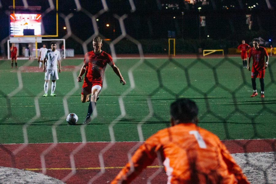 Kyle Nicklaw kicks a goal scoring shot towards East Los Angeles Community College Goalkeeper Oscar Ponce on Tuesday, Sept. 24, 2019, at La Playa Stadium in Santa Barbara, Calif. Nicklaw scored 3 consecutive goals in the first half for The Vaqueros. v