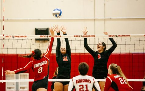 Lauren Wold (No.12) and Jordan Falconer (No.6) of City College exert to block a spike from Penelope Zepeda (No.8) of Bakersfield on Friday, Sept. 6 2019, in the Sports Pavillion at City College in Santa Barbara, Calif. The Vaqueros lost to The Renegades 3-0.