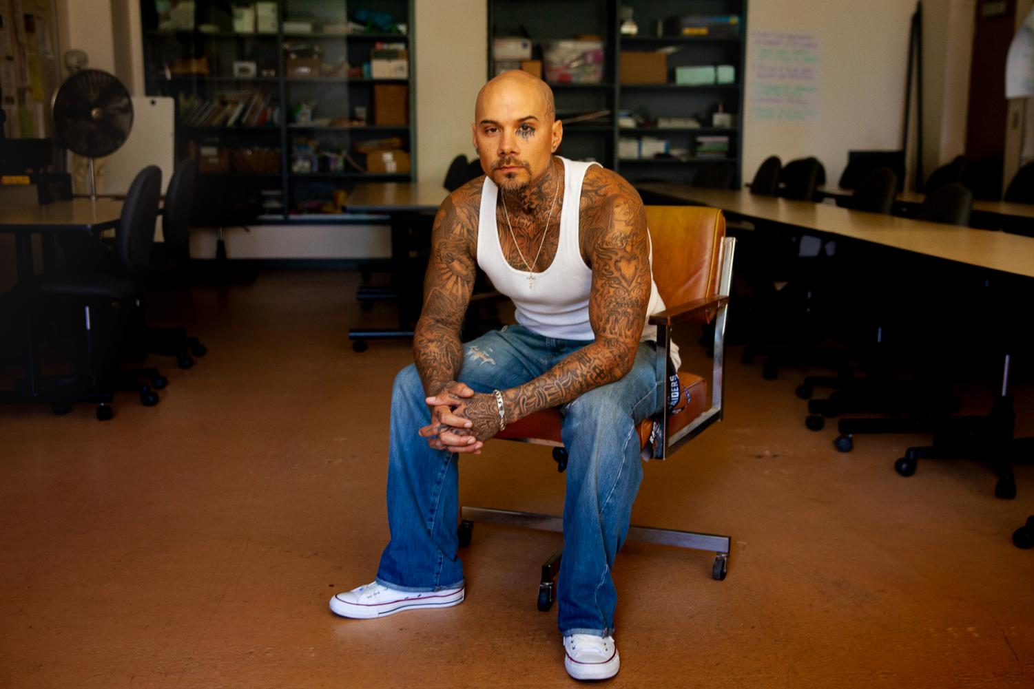 """City College student Brandon Reyes Gray talks about a near life sentence served in state prisons and transitioning from incarceration to modern society on Friday, Sept. 13, 2019, in the Administration Building, Room 161 at City College in Santa Barbara, Calif. """"It's too easy to fall back into criminal behavior after they let you out,"""" Gray said. """"The cycle is geared against you."""""""
