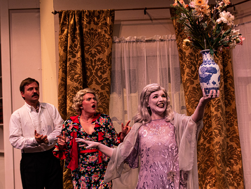 Oren Skoog and Leesa Beck in The Theatre Group at SBCC's production of BLITHE SPIRIT by Noel Coward, directed by R. Michael Gros.
