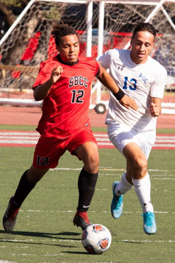 JahMikaili Hutton (12) defends for the Vaqueros, dribbling the ball down field on Tuesday, Oct. 15, 2019, at La Playa Stadium at City College in Santa Barbara, Calif.