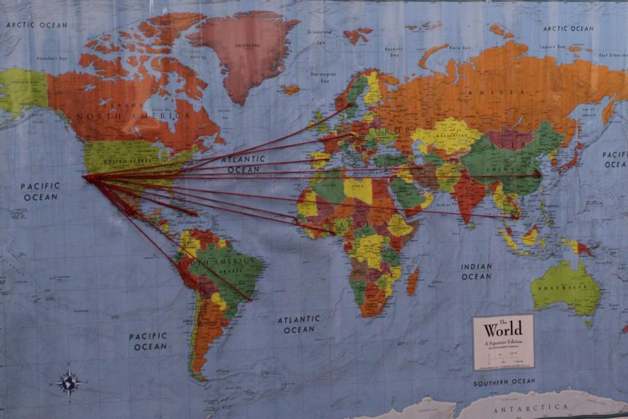 Each line of string leading to Santa Barbara is the journey of each of the foreign students that attended the event on Oct. 10, 2019, in the West Campus Center Room 207, at City College in Santa Barbara, Calif.