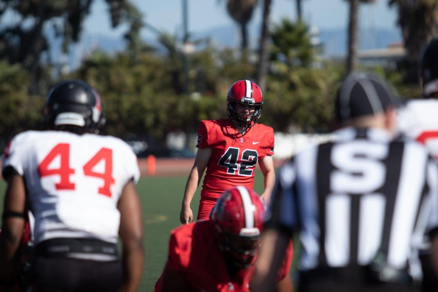 Jesse Mollkoy (42) prepares to kick an extra point on Saturday, Oct. 19, 2019, at La Playa Stadium at City College in Santa Barbara, Calif.
