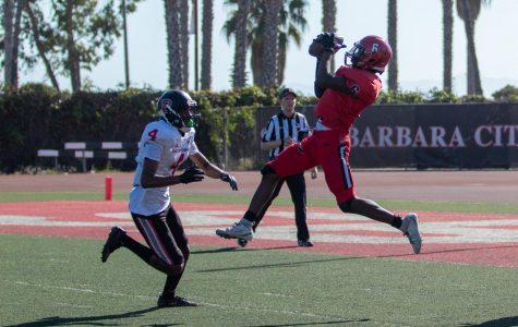 Patrick Dill Jr. (6) intercepts a pass intended for Kareem Miles (4) on Saturday, Oct. 19, 2019, at La Playa Stadium at City College in Santa Barbara, Calif.