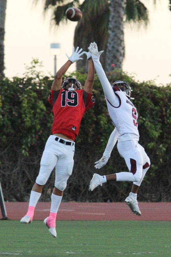 Cory Butler (19) attempting to intercept the pass intended for (9) Errius Collins on Oct. 5, 2019, at La Playa Stadium at City College in Santa Barbara, Calif.