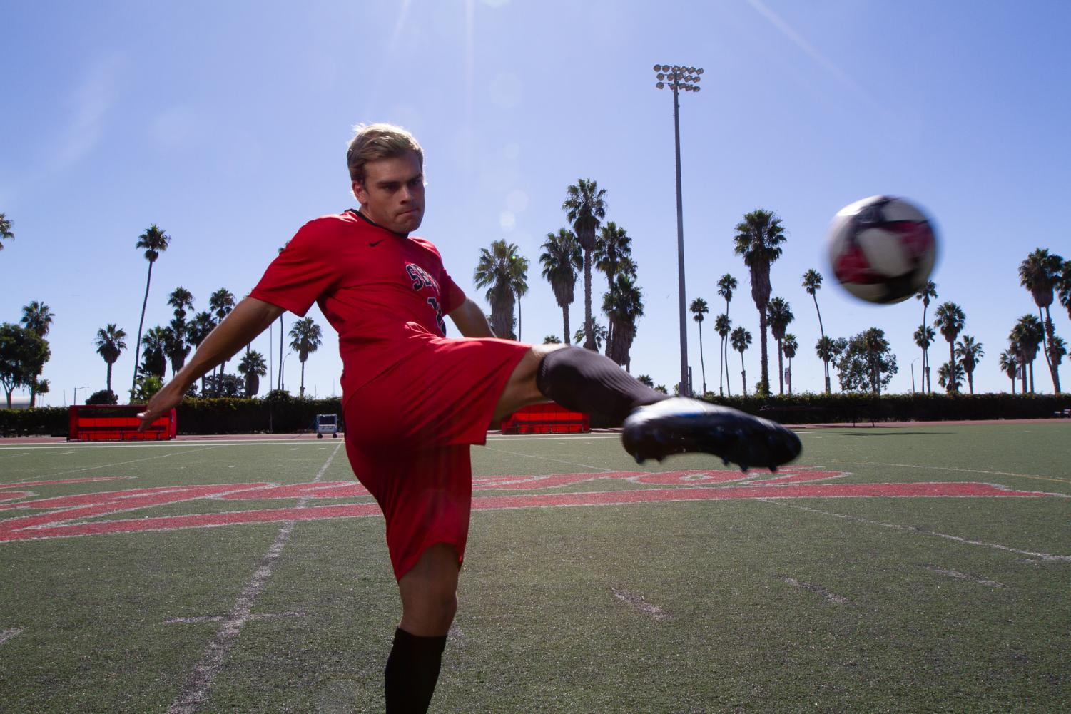 """Vaqueros forward Christopher Robinson from Dragonskolan High School in Umea kicks the ball on La Playa field on Wednesday, Oct. 25, 2019, at City College in Santa Barbara, Calif. """"We have to win,"""" said Robinson in reference to upcoming important games, """"it's make it or break it now."""""""