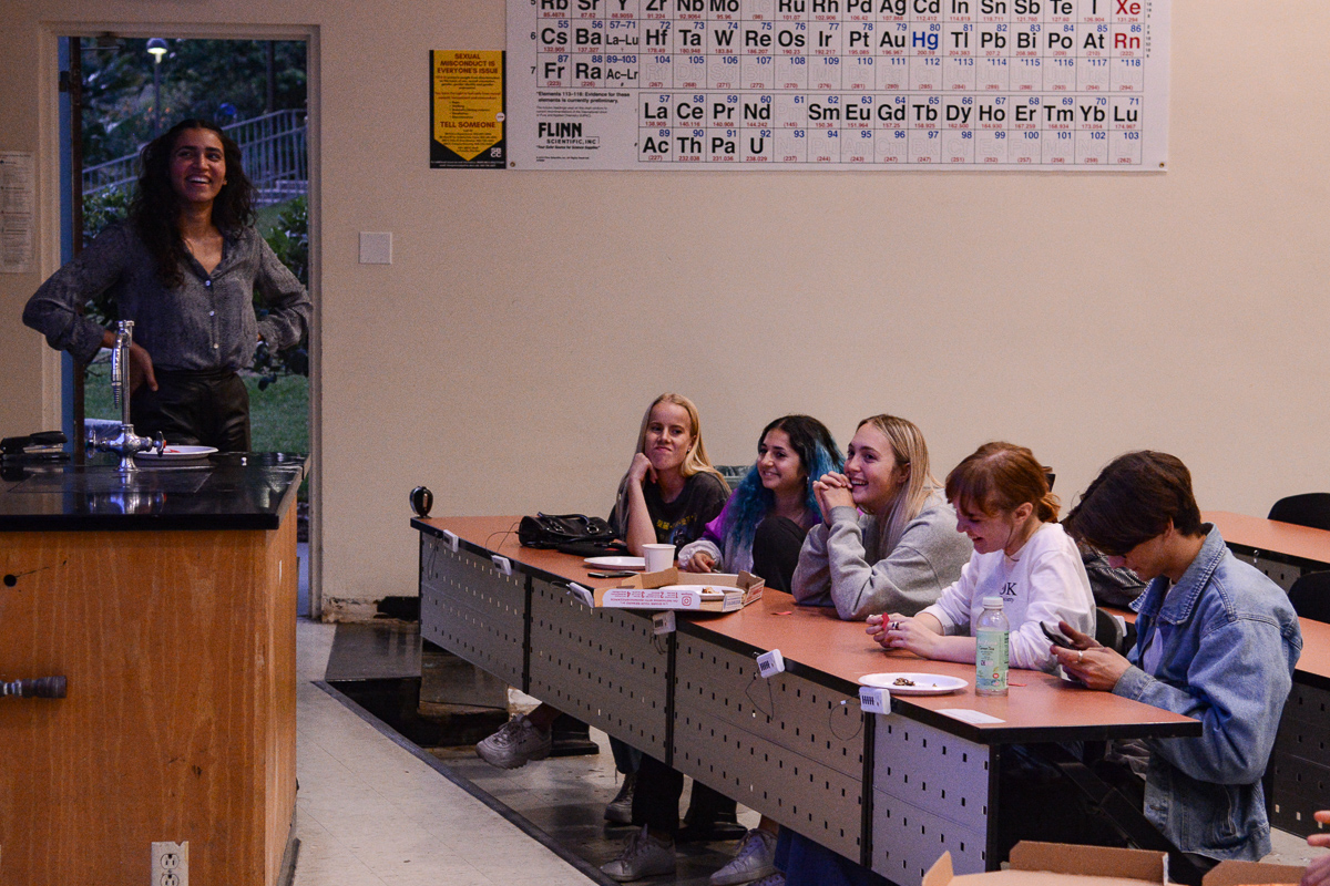 Contestants and members of Phi Theta Kappa laugh about their wrong answers during Phi Theta Kappa's Jeopardy Night from 6 to 7 p.m. on Thursday, Oct. 10, 2019, in the Physical Sciences Building Room 101, on east campus at City College in Santa Barbara, Calif. Team