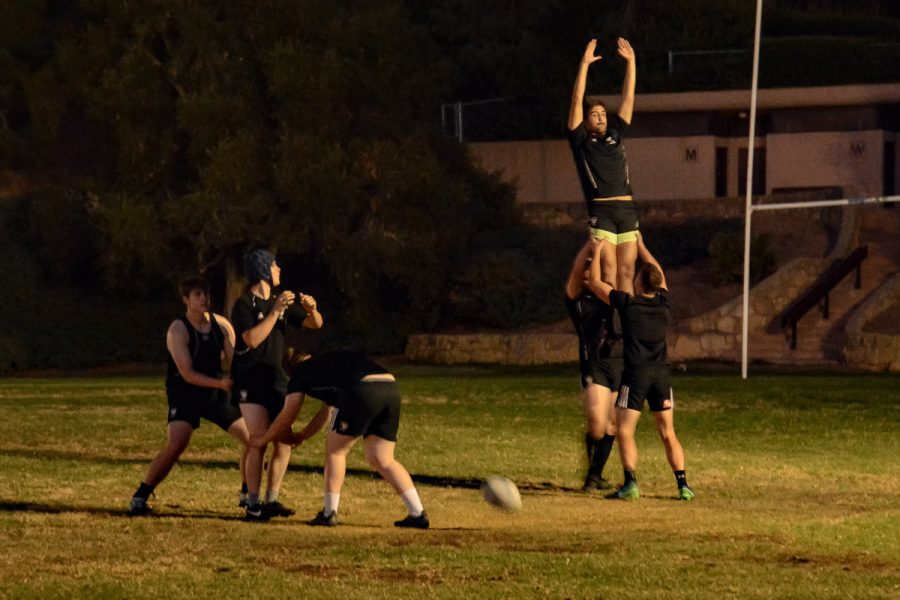 City College rugby players practice their line-out play configurations during their practice on Friday, Oct. 25, 2019, at Elings Park in Santa Barbara, Calif. A line-out play happens after the ball has gone out of play and teams fight for the ball with one of each team member in the air.