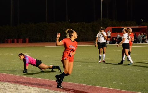 Forward Mekaylla White (No. 7) celebrates after scoring her first goal of the game against the Cuesta Cougars on Tuesday, Oct. 29, 2019 at La Playa Stadium at City College in Santa Barbara, Calif. White scored three of the four goals for the Vaqueros resulting in a 4-1 win for City College.