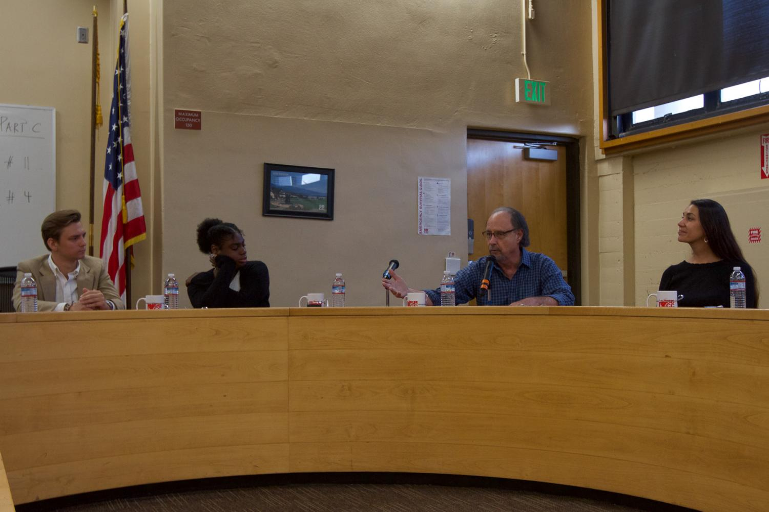 Second from right, Therapist and Antioch University Professor, Stuart Light addresses the alcohol problem within the college community and says that it correlates with social anxiety on Wednesday, Oct. 16, 2019, in the administration building at City College in Santa Barbara, Calif. Light was one of the four  panel members to speak for the Movies for Mental Health event.