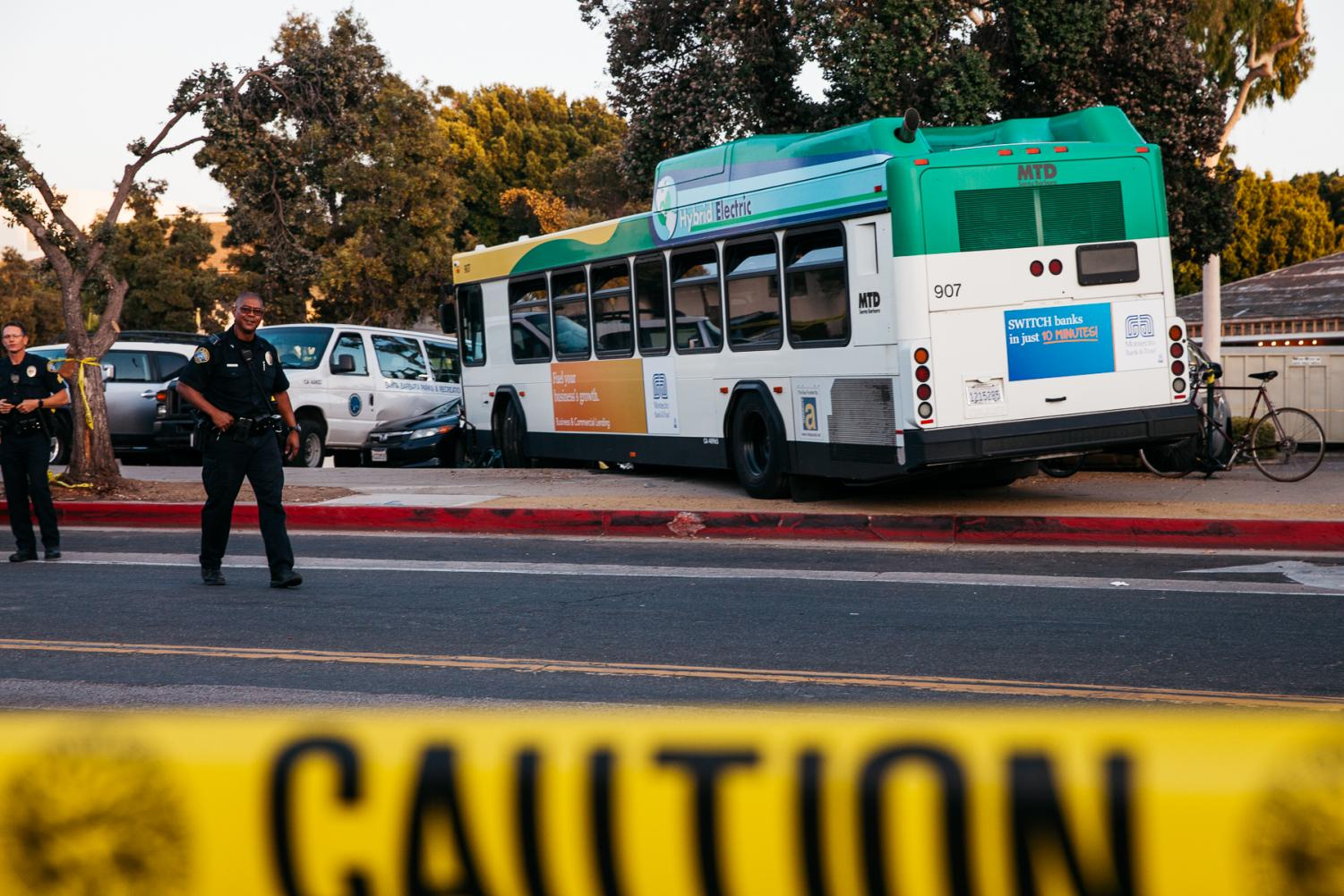 Metropolitan Transit District Bus 907 drove onto the sidewalk killing one woman, critically injuring one man and injuring several bus passengers on Wednesday, Oct. 9, 2019, on Chapala and West Figueroa Street in Downtown Santa Barbara, Calif.