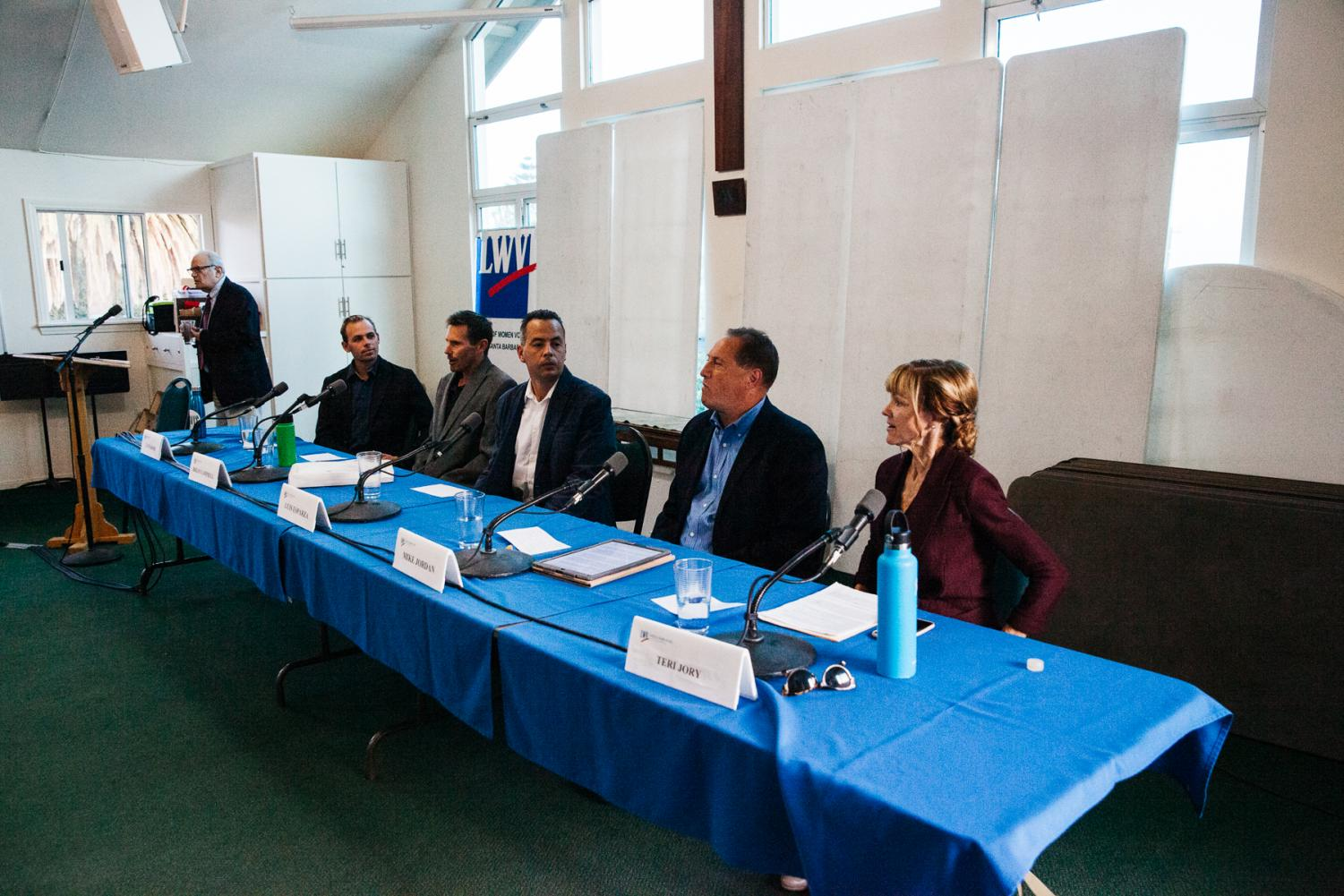 Candidates for the District 2 City Council seat gathered to answer community questions on Thursday, Oct. 10, 2019, in the Free Methodist Church on the Mesa in Santa Barbara, Calif. From right, Teri Jory, Mike Jordan, Luis Esparza, Brian Campbell and Travis Boise are running to take over the District 2 seat.