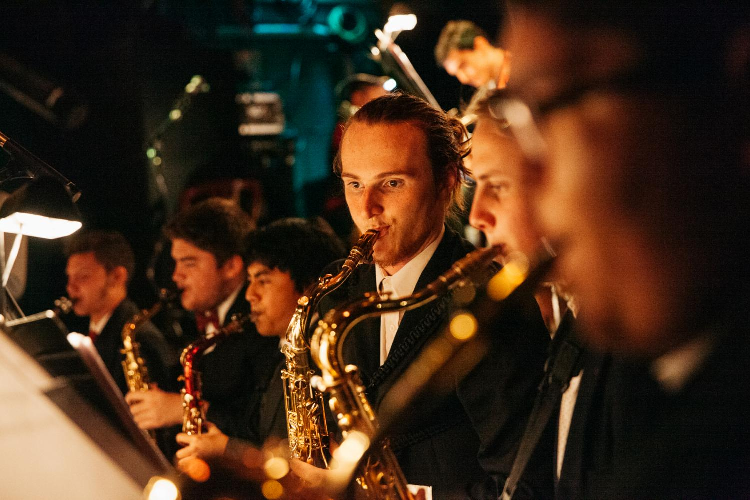 SBCC Good Times Big Band Saxophonists play for the Monday night jazz performance at sOhO Restaurant and Music Club on Oct. 21, 2019, in Downtown Santa Barbara, Calif. Eli Naania (Middle) played several saxophone solos during the show.